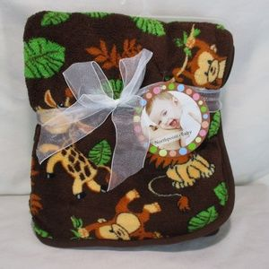 """Northpoint Baby Blanket Jungle Theme 30""""x40"""" Brown"""